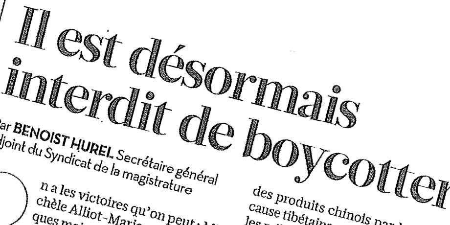 Le Boycott est désormais Interdit en France